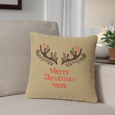 Brownlee Antlers Throw Pillow Color: Straw