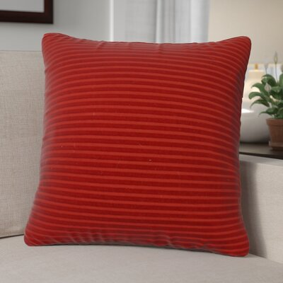Kentish Strip Square Cotton Throw Pillow Color: Red