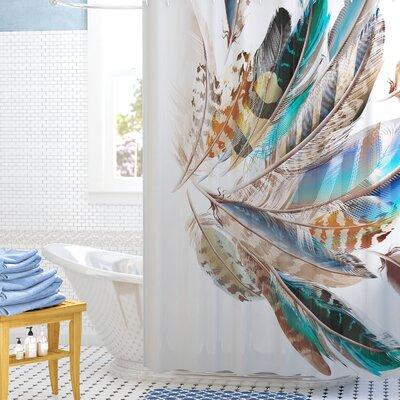 Contour Flight Feathers Decor Shower Curtain Size: 69 H x 70 W