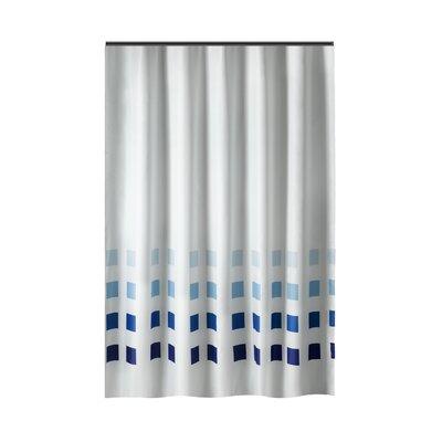 Drews Squares Shower Curtain Color: White/Blue
