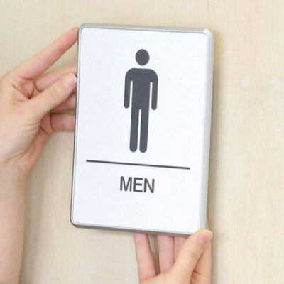 Aluminium Restroom Sign for Men with Braille
