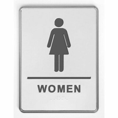 Aluminium Restroom Sign for Woman with Braille