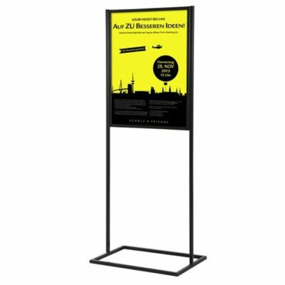 Metal Info Board with 1 Tier Color: Black, Size: 75 H x 24 W