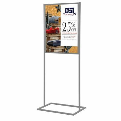 Metal Info Board with 1 Tier Color: Silver, Size: 75 H x 24 W