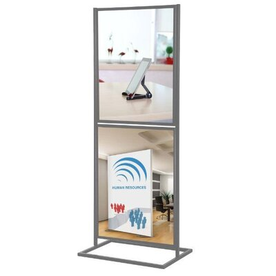 Metal Info Board with 2 Tier Color: Silver, Size: 31 H x 20 W x 15.5 D