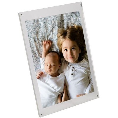 Tabletop Clear Acrylic L Frame with Standoff Hardware Size: 5 H x 7 W x 3.58 D