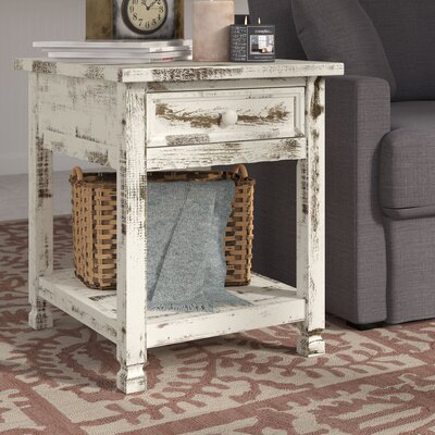 Mangum Cottage Rectangular End Table Color: White