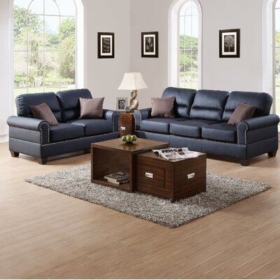 Jablonski 2 Piece Living Room Set Upholstery: Black