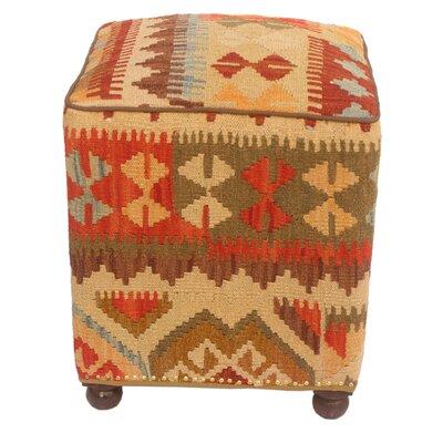 Teague Kilim Upholstered Handmade Ottoman