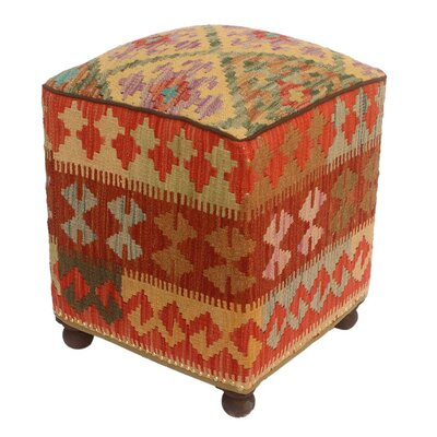 Tebikerei Kilim Upholstered Handmade Ottoman
