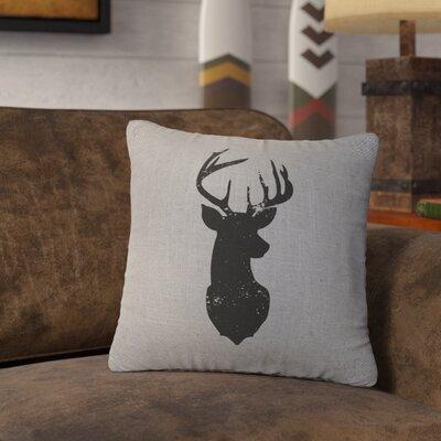 Lansford Deer Head Silhouette Throw Pillow Color: Gray