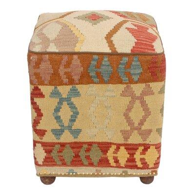 Taveras Kilim Upholstered Handmade Ottoman