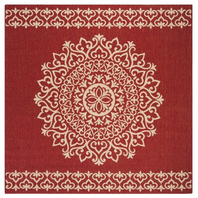 Gipson Red/Cream Area Rug Rug Size: Square 67