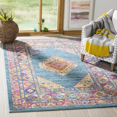 Esparza Light Blue/Orange Area Rug Rug Size: Round 67