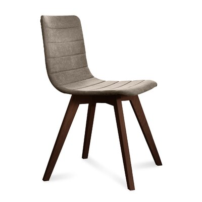 Dipasquale Upholstered Dining Chair Upholstery: Sand, Finish: Chocolate