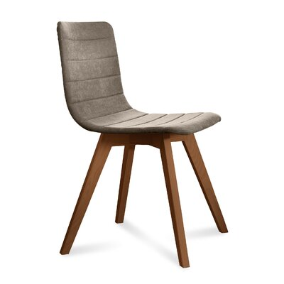 Dipasquale Upholstered Dining Chair Upholstery: Sand, Finish: Walnut