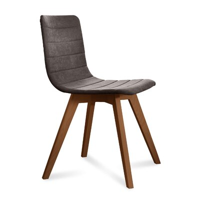 Dipasquale Upholstered Dining Chair Upholstery: Brown, Finish: Walnut