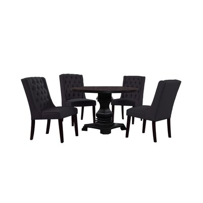 Motta 5 Piece Dining Set Chair Color: Charcoal