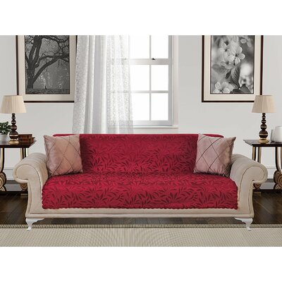 Box Cushion Sofa Slipcover Upholstery: Red