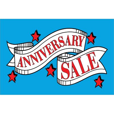 Anniversary Sale Banner Size: 24 H x 36 W x 0.18 D