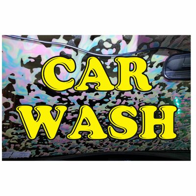 Car Wash Banner Size: 24 H x 36 W x 0.18 D