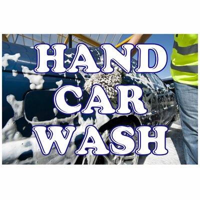 Hand Car Wash Banner Size: 24 H x 36 W x 0.18 D