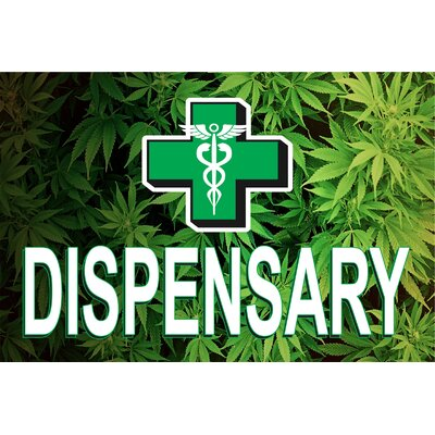 Dispensary Leaves Banner Size: 24 H x 36 W x 0.18 D