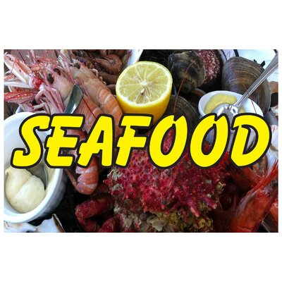 Seafood Lobster Banner Size: 24 H x 36 W x 0.18 D