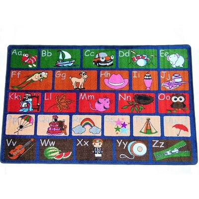 Ingraham ABC Picture Phonics Green/Red Area Rug Rug Size: Rectangle 8 x 10