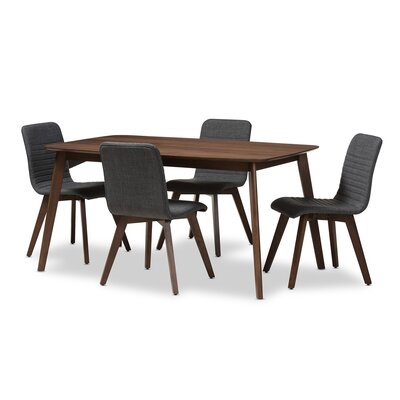 Critchfield 5 Piece Dining Set Color: Dark Gray