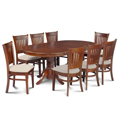 Miriam Wooden 9 Piece Extendable Dining Set Color: Brown