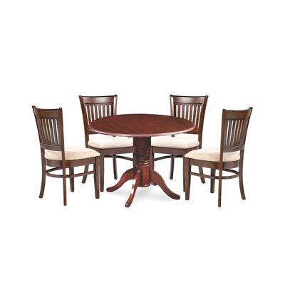 Miriam Wooden 5 Piece Drop Leaf Breakfast Nook Dining Set Color: Brown