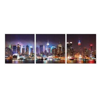 'City Lights' 3 Piece Photographic Print Set on Glass 2BF84F68F873460CA75ABA7186205F77