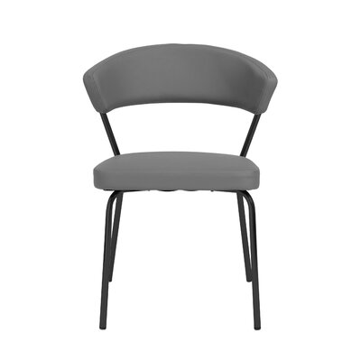 Viviana Upholstered Dining Chair Set Upholstery Color: Gray, Frame Color: Black
