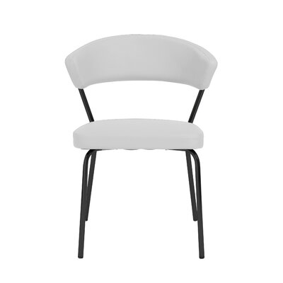 Viviana Upholstered Dining Chair Set Upholstery Color: White, Frame Color: Black