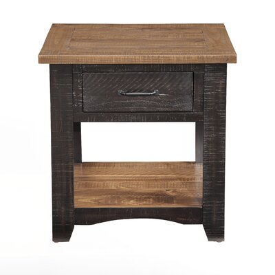 Hassinger End Table Color: Antique Black and Honey Tobacco