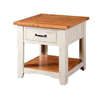 Hassinger End Table Color: Antique White and Honey Tobacco