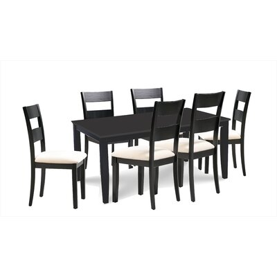Bennet 7 Piece Extendable Dining Set Table Top Color: Black, Table Base Color: Black