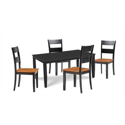 Almeida 5 Piece Extendable Dining Set Table Top Color: Black, Table Base Color: Black