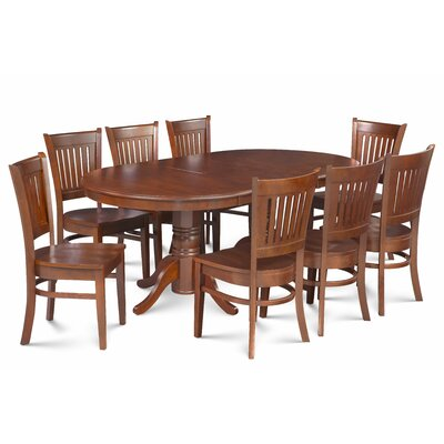 Miriam Solid Wood 9 Piece Extendable Dining Set Color: Brown