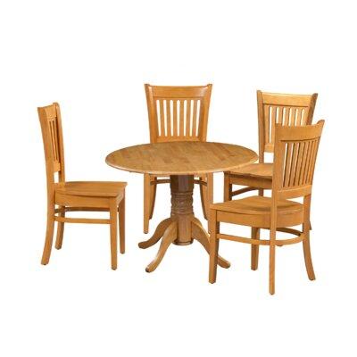 Miriam Solid Wood 5 Piece Drop Leaf Breakfast Nook Dining Set Color: Oak