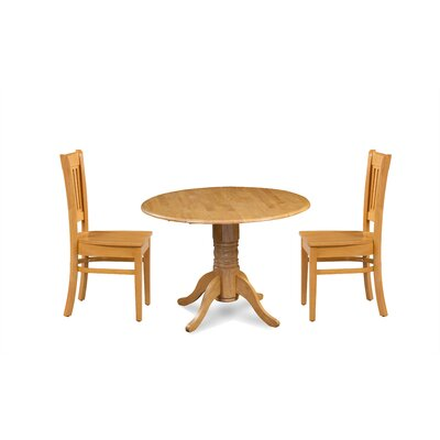 Miriam Solid Wood 3 Piece Drop Leaf Breakfast Nook Dining Set Color: Oak
