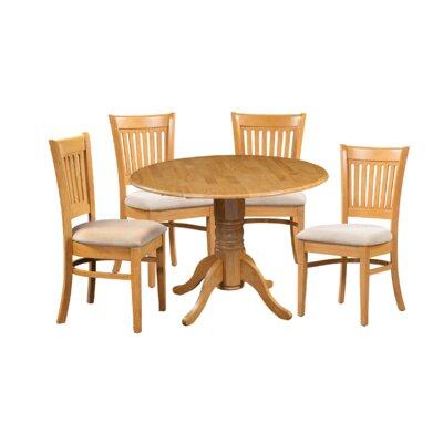 Miriam Wooden 5 Piece Drop Leaf Breakfast Nook Dining Set Color: Oak