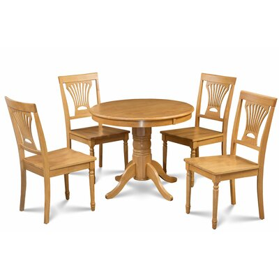Kelston Mills Solid Wood 5 Piece Extendable Breakfast Nook Dining Set Table Top Color: Oak, Table Base Color: Oak