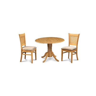 Miriam Wooden 3 Piece Drop Leaf Breakfast Nook Dining Set Color: Oak