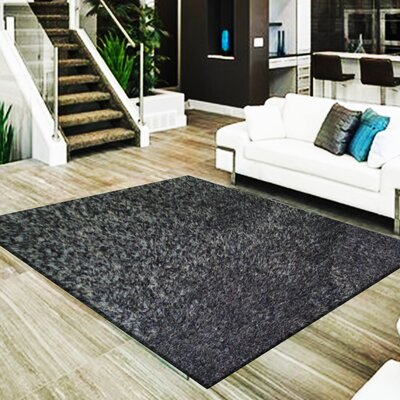 Mcpeters 3 Type of Yarn Shag Hand-Tufted Black Ash Area Rug