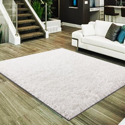 Mcraney 3 Type of Yarn Shag Hand-Tufted White Area Rug