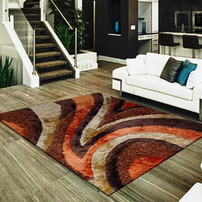 Straley Hand-Woven Brown/Orange Area Rug