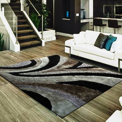 Straley Hand-Woven Gray/Black Area Rug