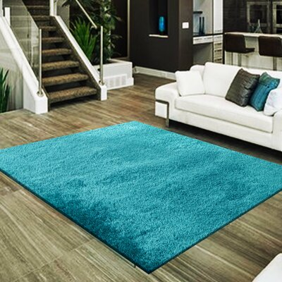 Marcello Hand-Tufted Turquoise Area Rug